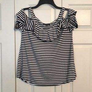 CABLE and GOUGE Small Black White Striped Shirt